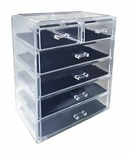 Acrylic Makeup Cosmetic Jewelry Organizer Storage 6 Drawers Display Top Box Case