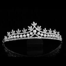 Wedding Cream Pearl Silver diamante Bride Crown Prom Party  Bridal Hair Tiara UK