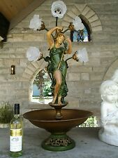 RARE ANTIQUE SPELTER LADY LAMP LOOKS LIKE FOUNTAIN 1940S AMAZING DETAIL