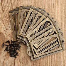 12pc Antique Brass Drawer Label Pull Cabinet Frame Handle File Name Card Holder