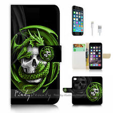 iPhone 7 PLUS (5.5') Flip Wallet Case Cover P1079 Skull