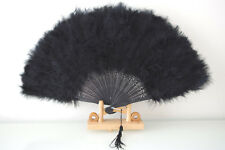 Black Hot sale Hand Made Soft Fluffy Marabou Feather Fan Fancy Party Hand Fan