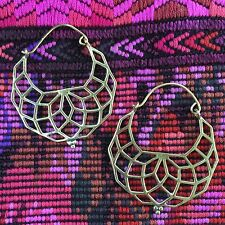Sacred Geometry Flower of Life Tribal Half Moon Hook Earrings in Brass