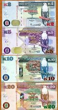 SET, Zambia, 2;5;10;20 Kwacha, 2012 (2013), P-New, UNC   New Revalued Currency