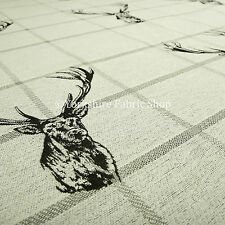 10 Metres Of Animal Stag Head Pattern Grey Beige Woven Quality Upholstery Fabric