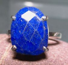 925 silver chequer cut LAPIS LAZULI ring UK Q/US 8.25.