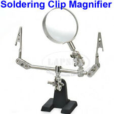 Hand Soldering Stand PCB Holder Clamp Clip Helping + 5X Glass Lens Magnifier