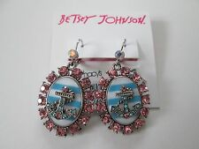 NWT Auth Betsey Johnson Anchors Away Nautical Anchor Cameo Dangle Drop Earrings