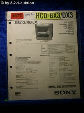 Sony Service Manual HCD BX3 /DX3 CD Cassette Player (#4473)
