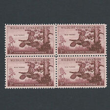 Wild Turkey Stamps 59 Years Old Mint Block of 4!