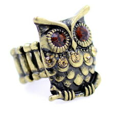 Adjustable vintage style bronze owl stretch ring with crystal