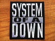 SYSTEM OF A DOWN ROCK BAND LOGO IRON ON PATCH BLACK & WHITE