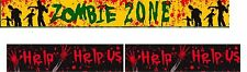 2 pack Zombie Warning Decoration Tape Horror Halloween Party Decoration .