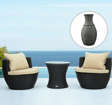 Outsunny 3pc Stackable Outdoor Patio Rattan Wicker Chat Chair Conversation Set