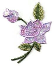 ROSE - FLOWER - W/BUD PURPLE SEQUINS (RIGHT) IRON ON APPLIQUE PATCH