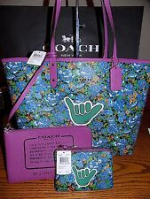NWT COACH REVERSIBLE CITY TOTE ROSE MEADOW W/POUCH F57669 $350 W/ WRISTLET $75