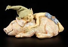 Pixie Kobold Figur - Kuschelt mit Schweinchen - Zwerge Gnome Trolle