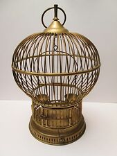 Vintage Antique Solid Brass Bird Cage Feeders & Swing Balloon Shape Dome