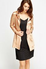 Women Silky Open Front Blazer Gold Color Size 8 Free P&P