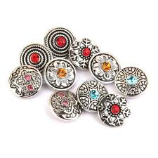lot 10 Mixed Silver Crystal Charms Snap Buttons For DIY Noosa Jewelry