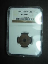 FRENCH INDO CHINA 1/2 CENT 1938 BRONZE NGC MS 63 RB SLAB GRADE VIETNAM LAOS COIN