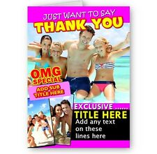 Personalised Any Photos, Any Text OMG Special Magazine Theme A5 Thank You Card