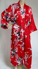 (810000)Red Ladies Long Silk Satin Feel Kimono Robe Dressing Gown 12-18 UK