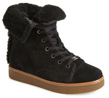NEW COACH Ramsey Black Suede Shearling Lace-up High Top Sneaker US 7.5/37.5 Shoe