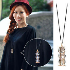 Fashion Women Crystal Hourglass Pendant Necklace Long Sweater Chain for Ladies