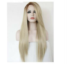 Blonde Wig Long Kanekalon Synthetic Straight Wigs Long Bangs Heat Resistant +Cap