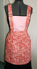 Women's Juniors Pinafore style Apron Wooden Spoons Hearts Love You Pinks White