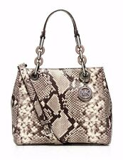 NWT $378 MICHAEL KORS Python Emb Small Cynthia Satchel Crossbody Natural Silver