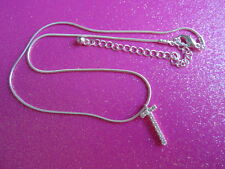 "CRYSTAL INITIAL SMALL ""T"" OR CROSS NECKLACE"