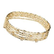 Five Row Yellow Gold-Tone High Polish Twisted Bangle Cuff Bracelet with White CZ