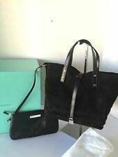 Tiffany & Co. Black Reversible Tote Handbag Leather Metallic Suede TRT