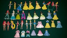 BIG LOT OF POLLY POCKET DISNEY PRINCESS DOLLS CLOTHES Belle Cinderlea Snow White