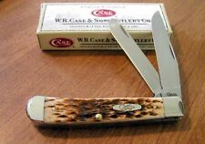Couteau Case Trapper Amber Bone Lames Acier Chrome/Vanadium/Carbone USA CA163