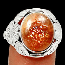 Natural Sunstone 925 Sterling Silver Ring Jewelry s.7.5 RR18213