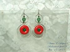 Arturo E.Reyna AWESOME SILVER TONE RINGS NATURAL JADE CORAL DONUT HOOP EARRINGS