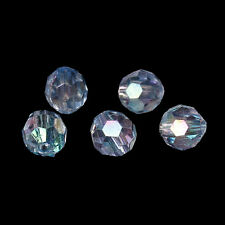 250 Sparkling Clear AB Round Faceted Acrylic Crystal Spacer Beads,6mm