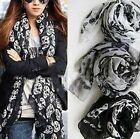 Women's Fashion Long Soft Wrap Lady Shawl Skull Chiffon Scarf