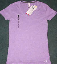 NWT Womens Under Armour M Lavender Fitted V-Neck Charged Cotton Shirt Medium