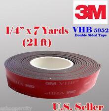 "3M 1/4"" x 21 Ft  7 Yards VHB Double Sided Foam Adhesive Tape 5952 Automotive"