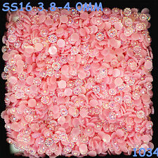 6000pcs SS16 Pink AB Non Hotfix Crystal Acryl Rhinestone Round Beads Flatback