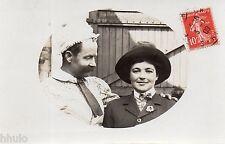 BK916 Carte Photo vintage card RPPC couple déguisement funny militaire