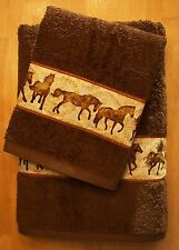 WESTERN/SOUTHWEST DECOR 2 PC TOWEL SET,COCOA BROWN, GORGEOUS RUNNING HORSES