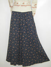 LAURA ASHLEY VINTAGE RUSSET ROSE GARLAND ELASTIC WAIST LONG SKIRT, MEDIUM