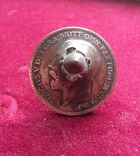 WW1 1916 DATED BRITISH PENNY WITH BULLET THROUGH THE COIN - TRENCH ART STYLE