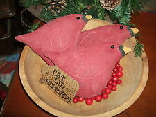 Primitive FAT LIL REDBIRDS Winter Birds Three (3) Bowl Filler Folk Art Ornies