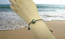 11-12MM Authentic Tahitian Pearls 1.5MM Leather Cord Bracelet